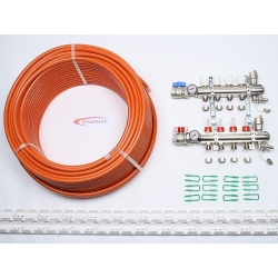 45m2 max. 2 zone/stat. 4 loops... >  4 Port x 300M Underfloor Heating Kit