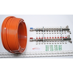 150m2 max. 7 zone/stat. 12 loops... >  12 Port x 1000M Underfloor Heating Kit