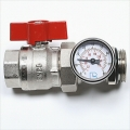 "1""Red Ball Valve/Temperature Gauge"