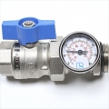 "1"" Blue Ball Valve/Temperature Gauge"
