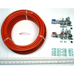 30m2 max. 1 zone/stat. 2 loops... >  2 Port x 200M Underfloor Heating Kit.